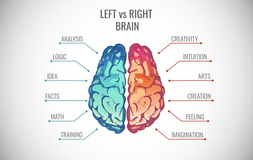 Left vs right brain creative juices